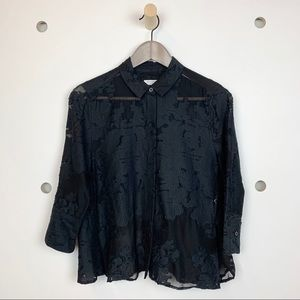 Equipment lace appliqué black blouse